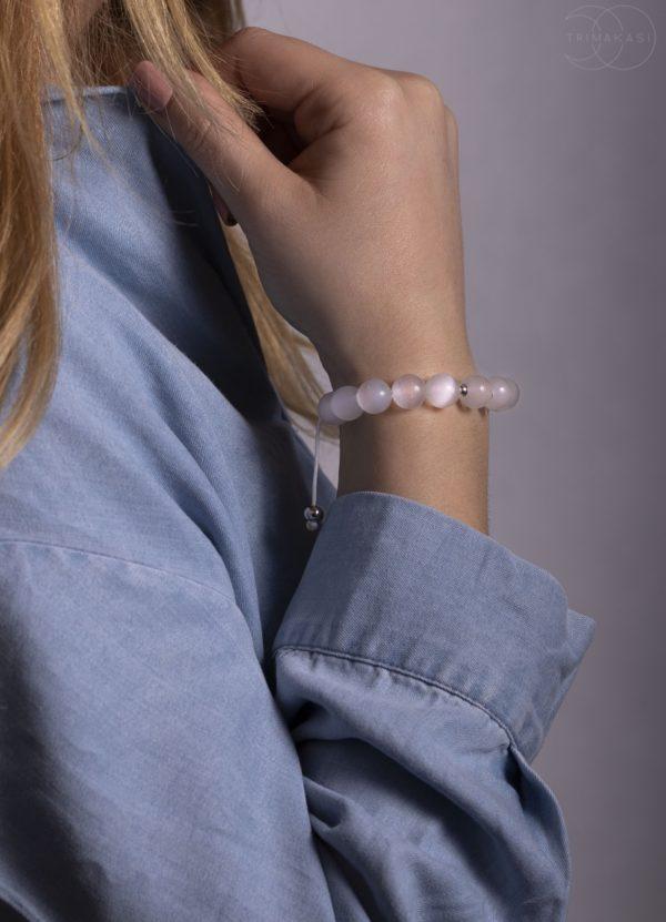 Shamballa náramek na ruku bílý kalcit
