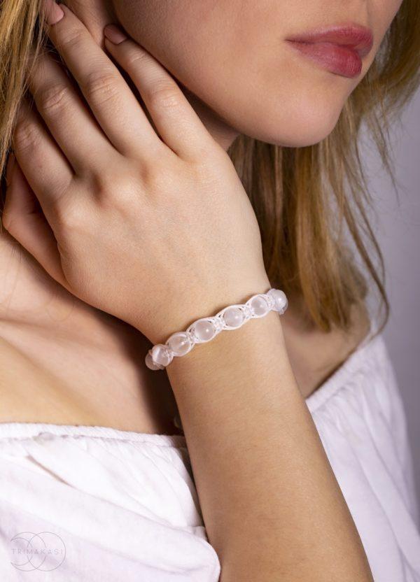 shamballa náramek na ruku dámský bílý