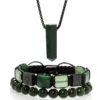 Set šperků z kamenů zelený