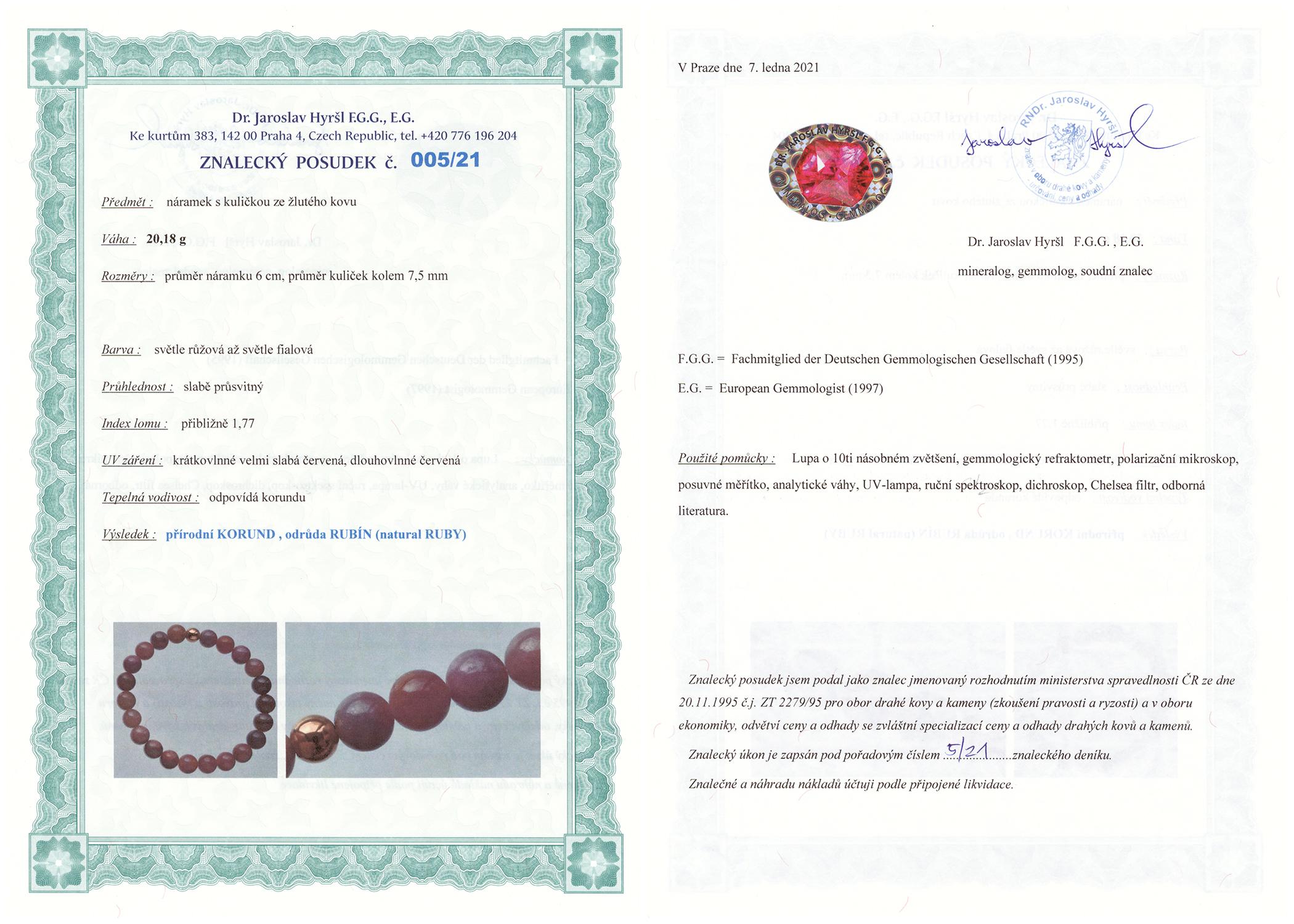 Certifikát pravosti Rubín